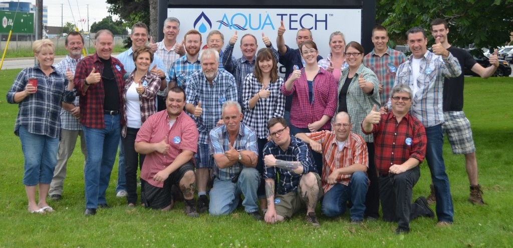 Aqua-Tech Employees Wearing Plaid for Dad